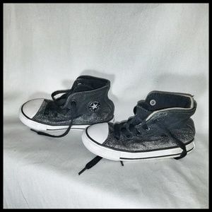 Black and Silver Sparkly Chuck Taylor High Tops